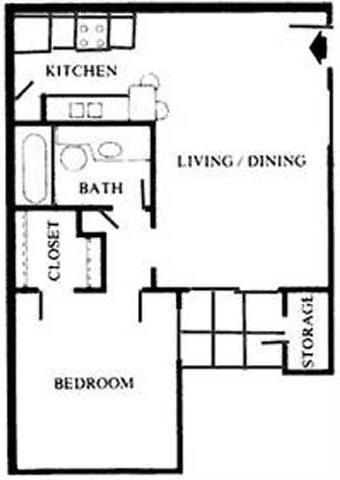 B   One Bedroom Floor Plan 2
