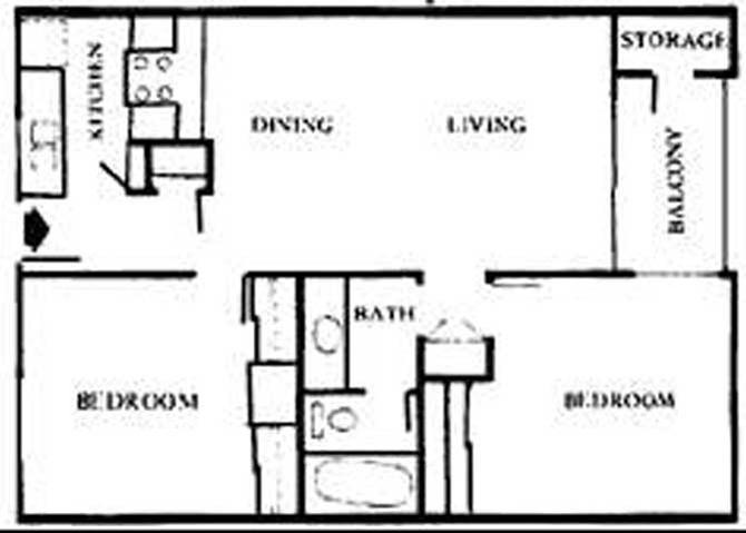 D   Two Bedroom Floor Plan 4