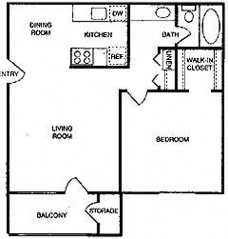 1B | One Bedroom Floor Plan 2