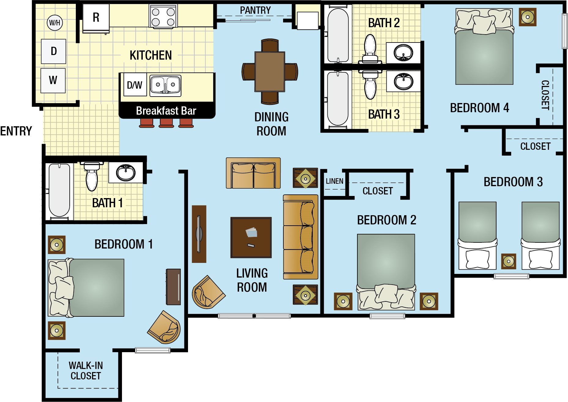 Floor plans vista pines apartments concord rents - Four bedroom apartments in orlando fl ...