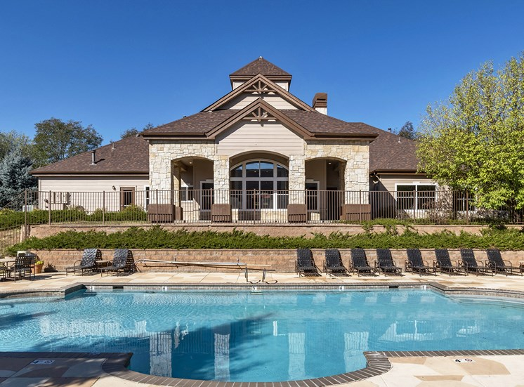 Grand Centennial Apartments heated pool with landscaped terrace