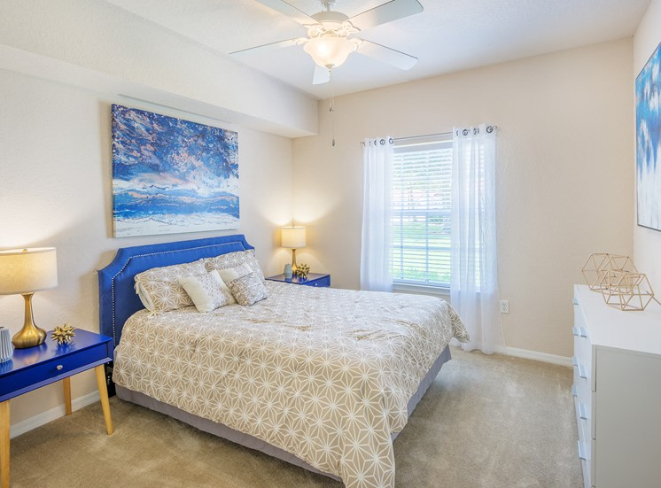 Asprey apartment interior bedroom with ceiling fans