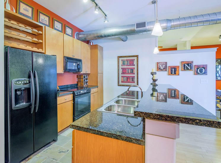Lofts at Lakeview Apartments - Gourmet kitchens with granite slab countertops