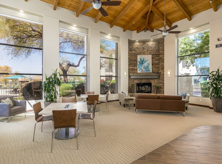 The Paragon at Kierland Apartments resident clubhouse with fireplace