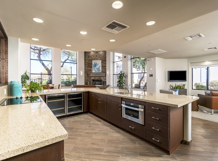 The Paragon at Kierland Apartments clubhouse kitchen