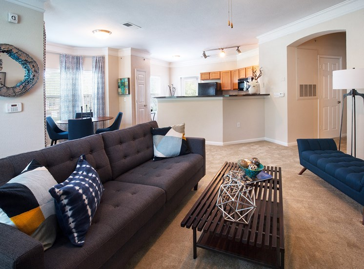 Carrington at Shoal Creek - Staged living room with carpet