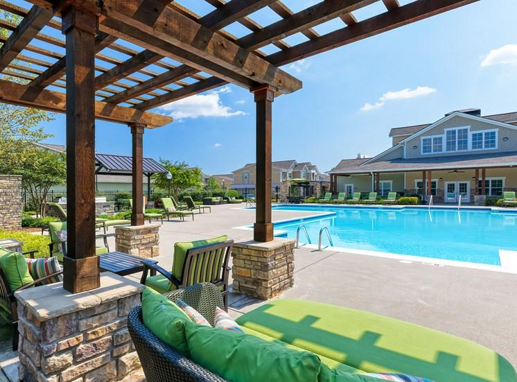 Glenbrook Apartments poolside cabana and BBQ grills