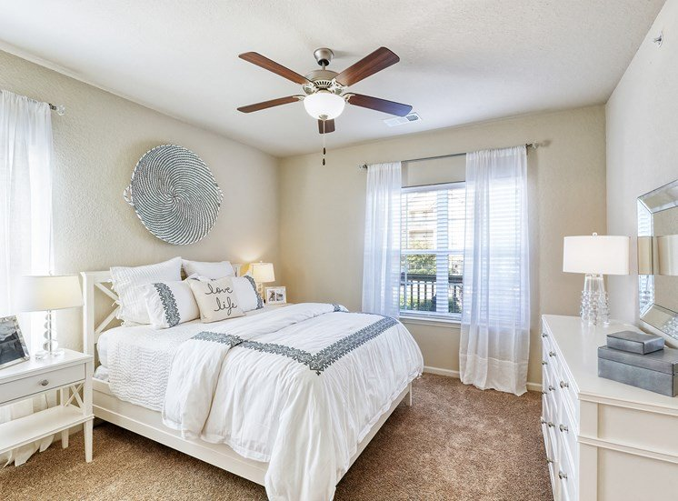 Ceiling fan with lights in all bedrooms and living room