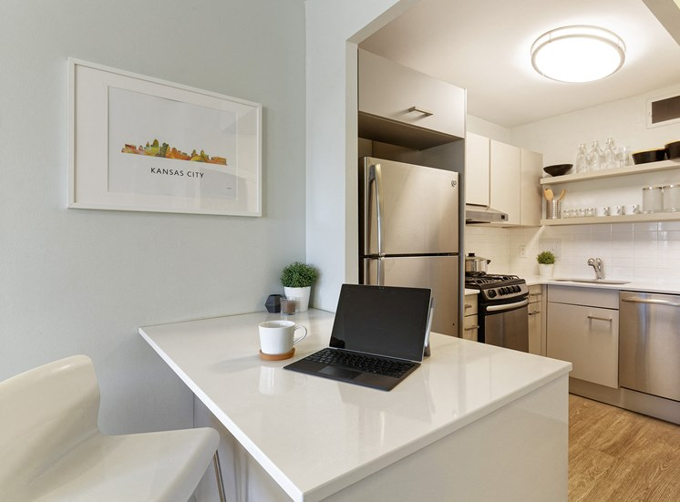 Kitchen area in unit for The KC High Line Apartments in Kansas City, MO