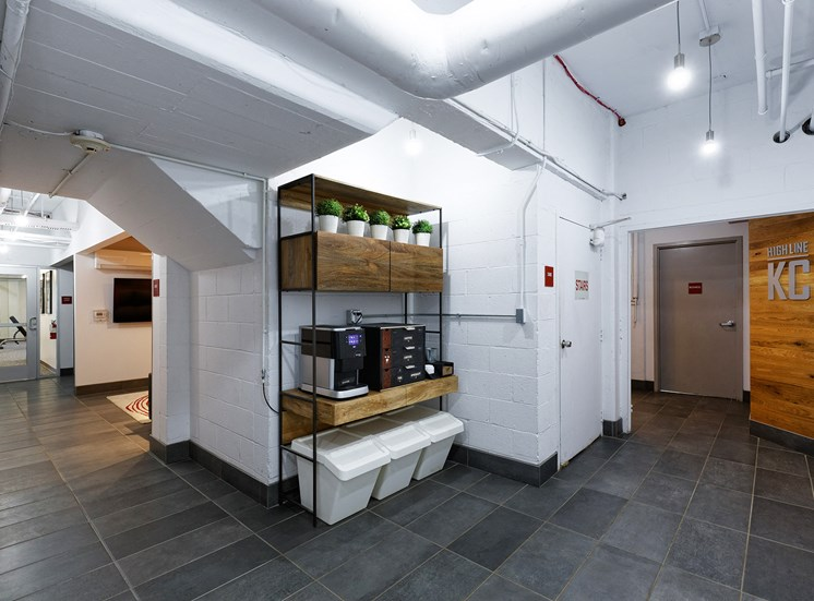 Complimentary coffee bar for The KC High Line Apartments in Kansas City, MO