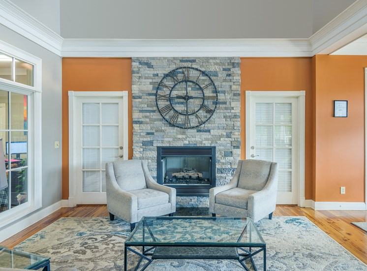Clubhouse fireplace with seating