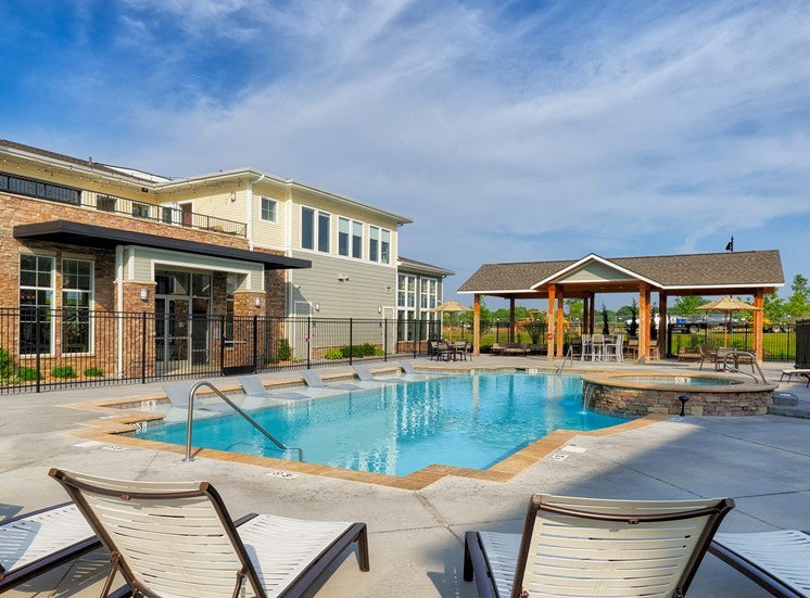 The Haven at Shoal Creek heated saltwater pool with tanning deck
