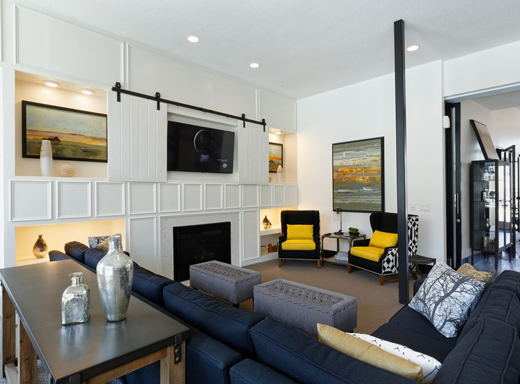 The Haven at Shoal Creek resident clubhouse with fireplace