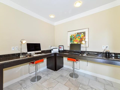 Executive Technology Center with Both MAC and PC Workstations Available at Vanguard Crossing Apartments, University City, MO 63124