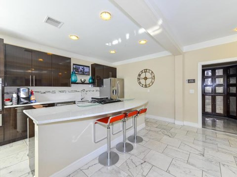 State of the Art Demonstration Kitchen with Starbucks Coffee Center at Vanguard Crossing Apartments, University City, MO 63124