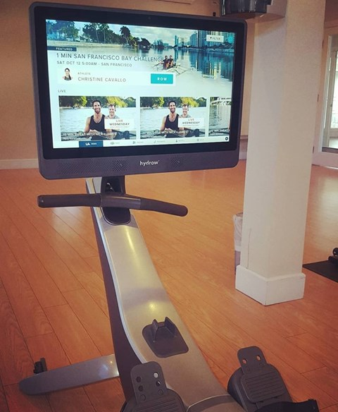 Interactive Fitness Center with Hydrow Rowing Machine and Fitness MIRROR Virtual Workout at Vanguard Crossing Apartments, University City, MO 63124