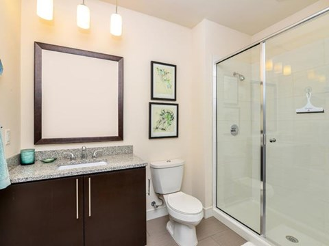 Walk-In Shower Bathroom with Granite Countertop, and includes Heated Towel Bars  at Vanguard Crossing Apartments, University City, MO 63124