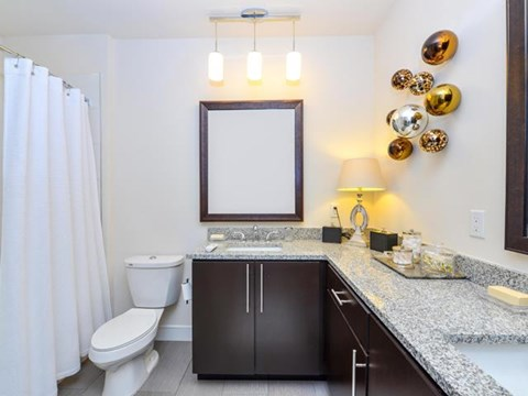 Garden Tub Bathroom with Granite Countertop, and includes Heated Towel Bars  at Vanguard Crossing Apartments, University City, MO 63124