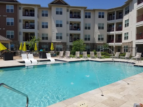 Refreshing Salt Water Swimming Pool and Relaxing Lounge Area at Vanguard Crossing Apartments, University City, MO 63124