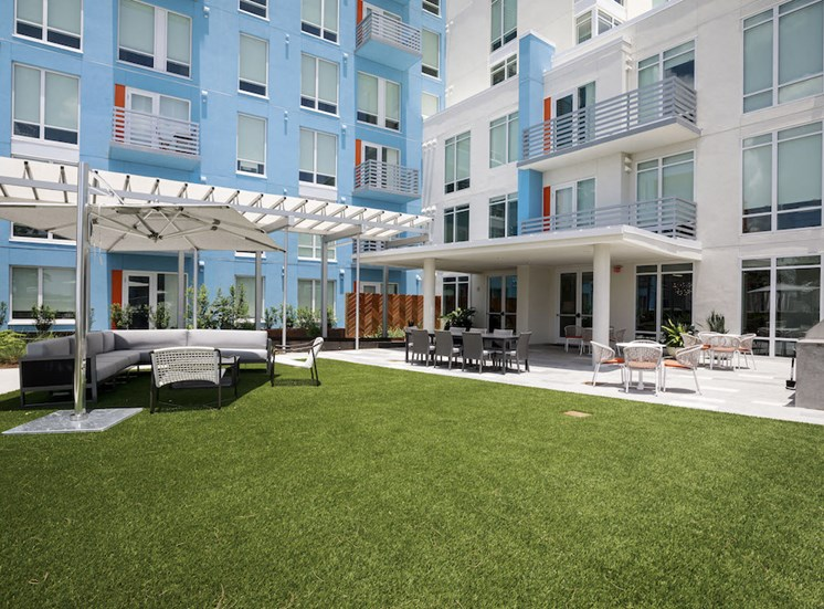 Pixon apartments offer a view of the amenity deck