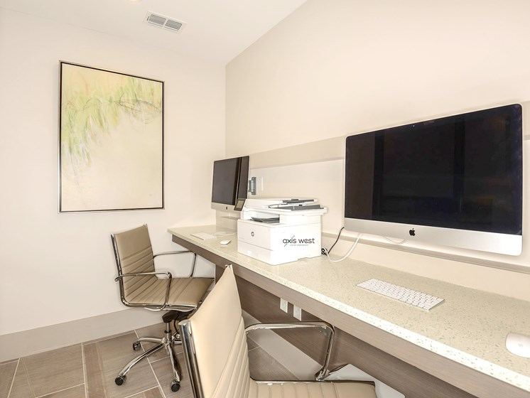 Axis West Resident Business Center with Mac Computers and Printing