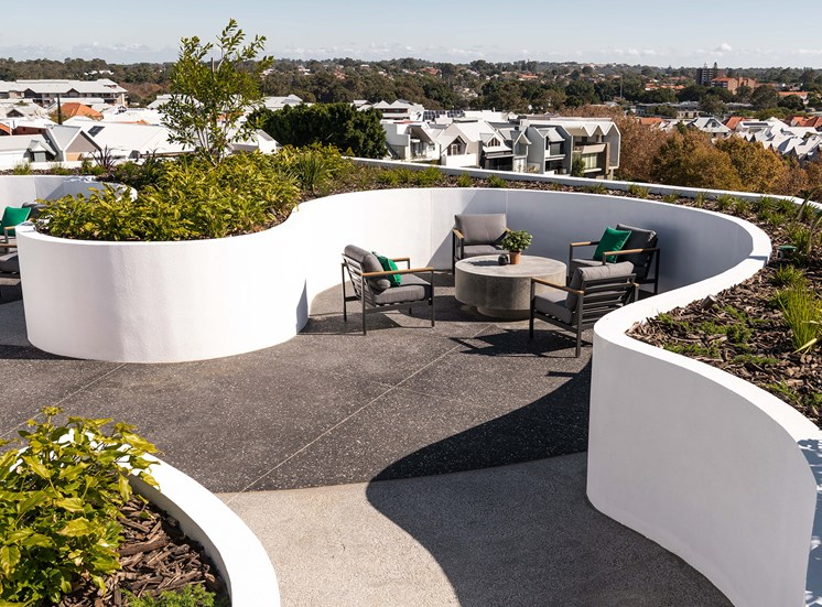 Native landscaping on the rooftop