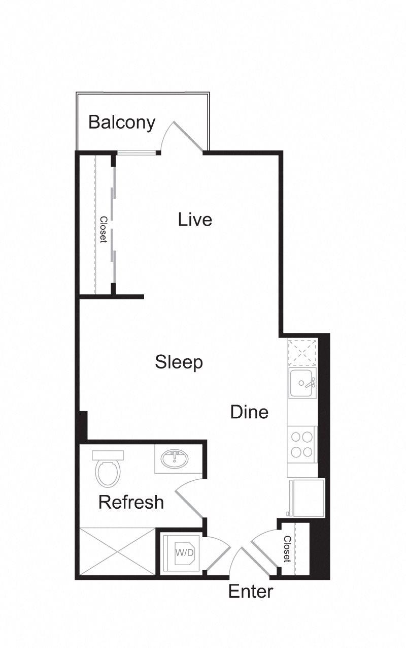 Spacious Studio Floor Plan Options Available!