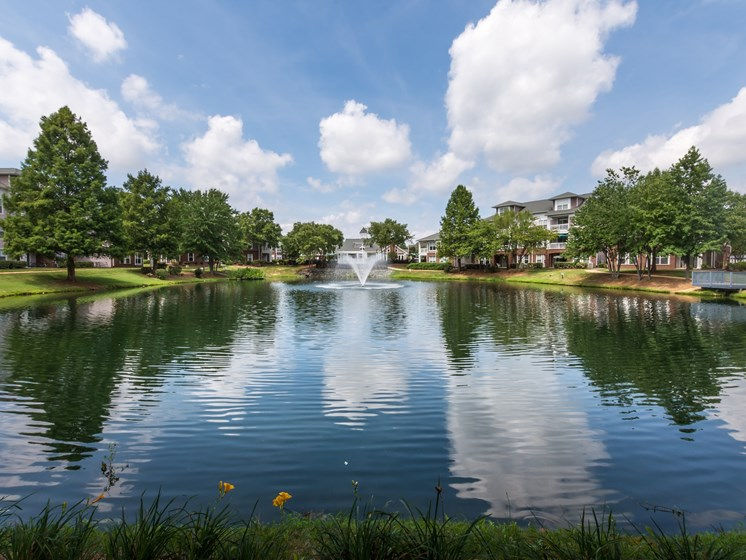 Beautiful Community Lake with Fountain