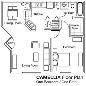 Whispering Pines 1x1 Floor Plan